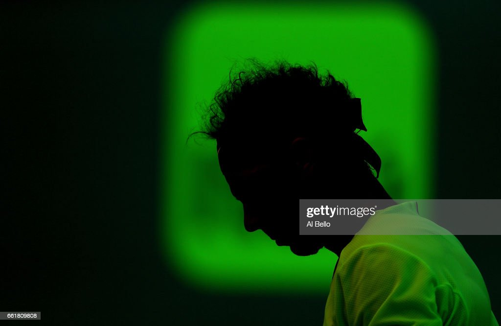 Rafael Nadal of Spain looks on against Fabio Fognini of Italy during Day 12 of the Miami Open at Crandon Park Tennis Center on March 31, 2017 in Key Biscayne, Florida.