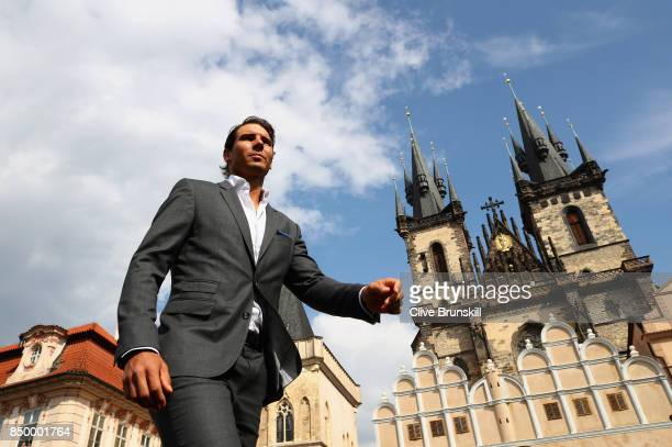 Rafael Nadal of Spain looks on ahead of the Laver Cup on September 20 2017 in Prague Czech Republic The Laver Cup consists of six European players...