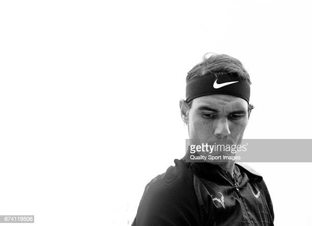 Rafael Nadal of Spain looks on at his match against Kevin Anderson of South Africa during the Day 4 of the Barcelona Open Banc Sabadell at the Real...