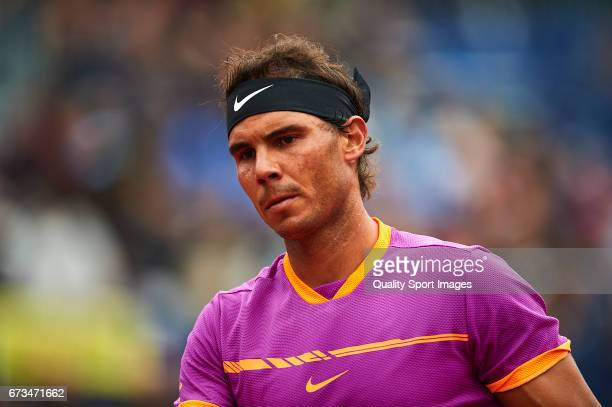 Rafael Nadal of Spain looks on at his match against Rogerio Dutra Silva of Brasil during the Day 3 of the Barcelona Open Banc Sabadell at the Real...