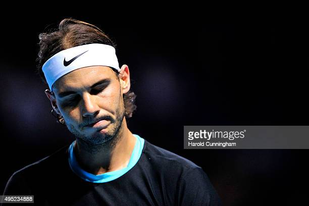 Rafael Nadal of Spain looks on during the final match of the Swiss Indoors ATP 500 tennis tournament against Roger Federer of Switzerland at St...
