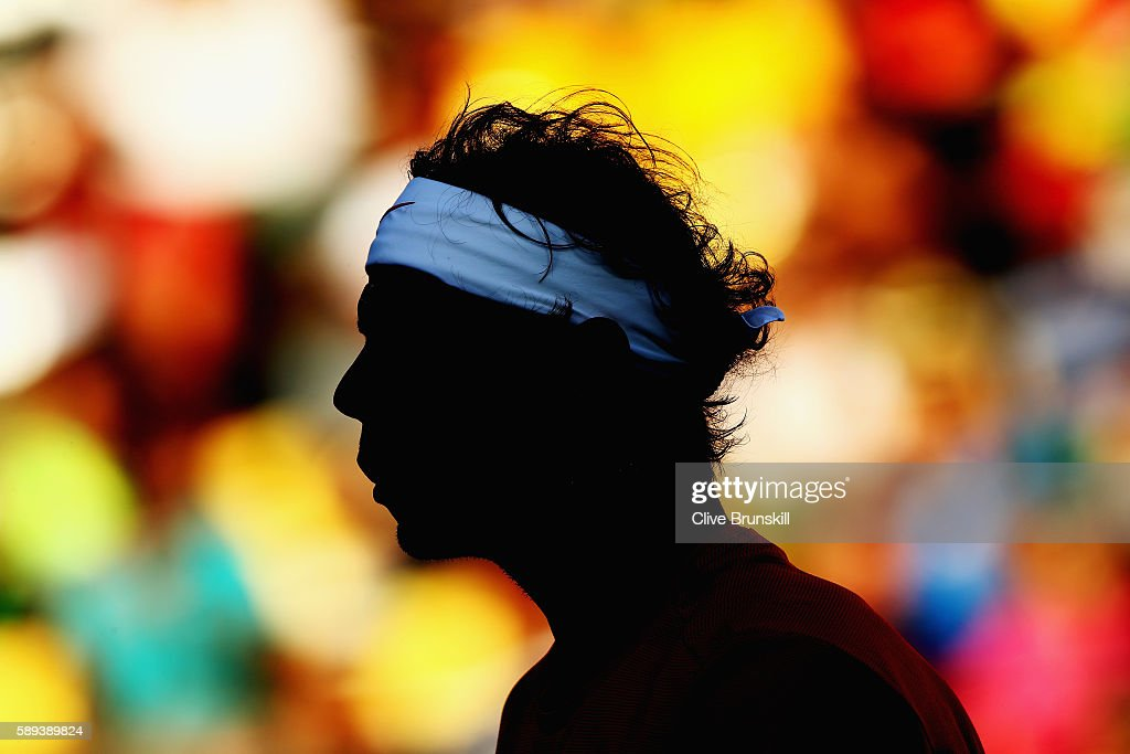 Rafael Nadal of Spain looks on during the Men's Singles Semifinal Match against Juan Martin Del Potro of Argentina on Day 8 of the Rio 2016 Olympic Games at the Olympic Tennis Centre on August 13, 2016 in Rio de Janeiro, Brazil.