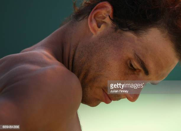 Rafael Nadal of Spain looks on in his match against Nicolas Mahut of France at Crandon Park Tennis Center on March 28 2017 in Key Biscayne Florida