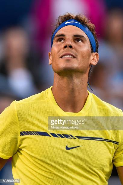 Rafael Nadal of Spain looks towards the fans after defeating Borna Coric of Croatia during day six of the Rogers Cup presented by National Bank at...