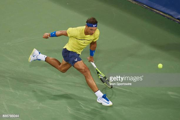 Rafael Nadal of Spain misses a shot during his quarter final match against Nick Kyrgios of Australia in the Western Southern Open at the Lindner...