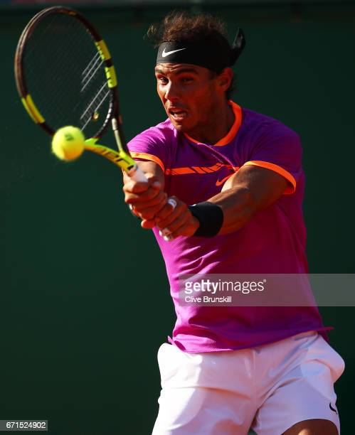 Rafael Nadal of Spain plays a backand against David Goffin of Belgium in their semi final round match on day seven of the Monte Carlo Rolex Masters...
