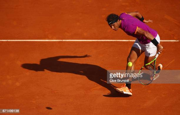 Rafael Nadal of Spain plays a backand volley against David Goffin of Belgium in their semi final round match on day seven of the Monte Carlo Rolex...