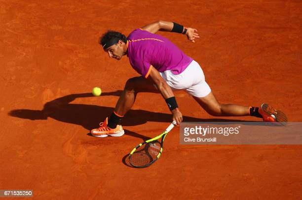Rafael Nadal of Spain plays a backhand against David Goffin of Belgium in their semi final round match on day seven of the Monte Carlo Rolex Masters...