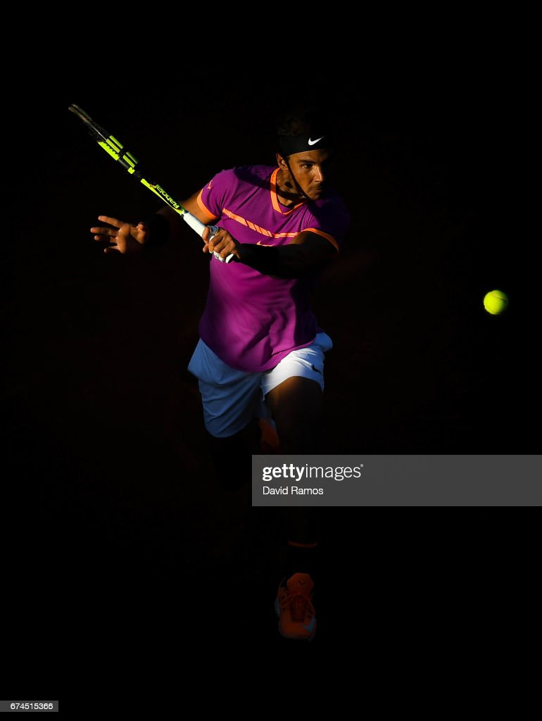 Rafael Nadal of Spain plays a backhand against Hyeon Chung of South Korea in the quarterfinal on day five of the Barcelona Open Banc Sabadell on April 28, 2017 in Barcelona, Spain.