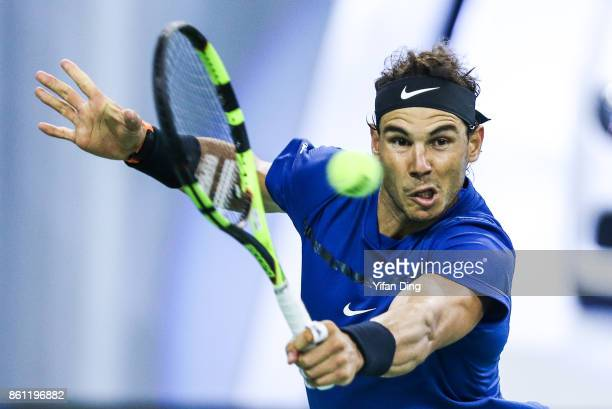 Rafael Nadal of Spain plays a backhand during his Men's singles semifinal match against Marin Cilic of Croatia on day 7 of 2017 ATP Shanghai Rolex...