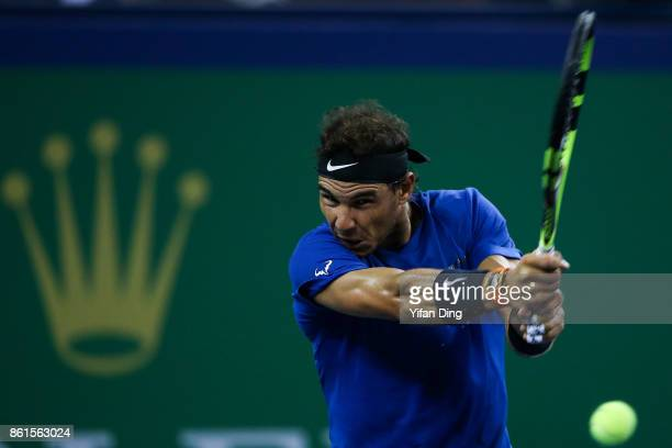 Rafael Nadal of Spain plays a backhand during the Men's singles final match against Roger Federer of Switzerland on day 8 of 2017 ATP Shanghai Rolex...