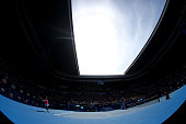 Rafael Nadal of Spain plays a backhand in his first round match against Mikhail Youzhny of Russia during day one of the 2015 Australian Open at...