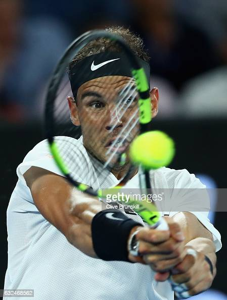 Rafael Nadal of Spain plays a backhand in his fourth round match against Gael Monfils of France on day eight of the 2017 Australian Open at Melbourne...