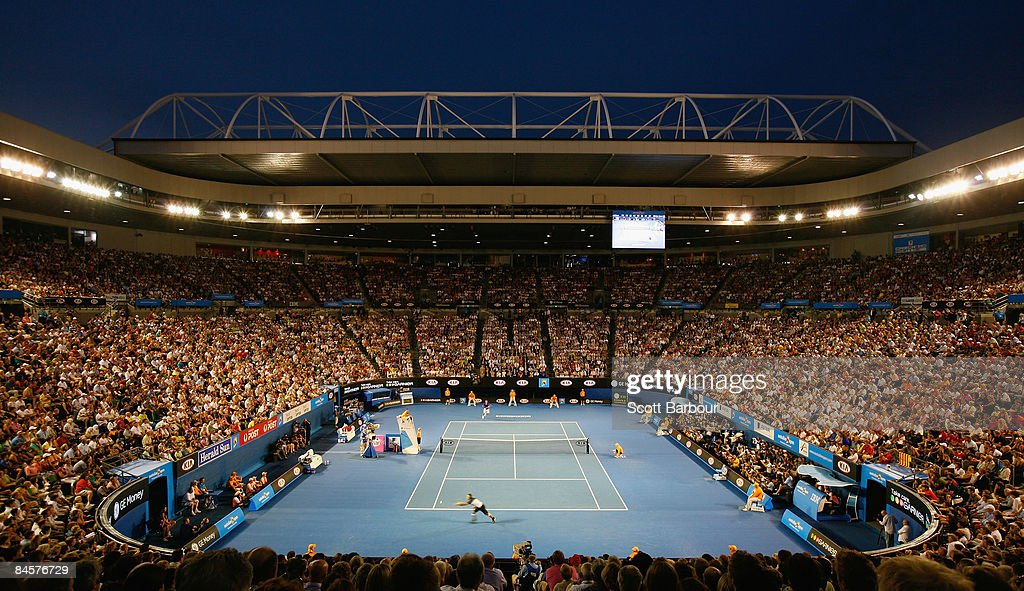 Rafael Nadal of Spain plays a backhand in his men's final match against Roger Federer of Switzerland during day fourteen of the 2009 Australian Open...