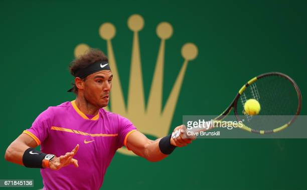 Rafael Nadal of Spain plays a forehand against Albert RamosVinolas of Spain in the final on day eight of the Monte Carlo Rolex Masters at MonteCarlo...