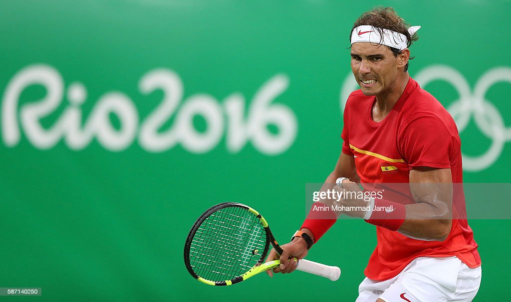 Rafael Nadal of Spain plays a forehand against Federico Delbonis of Argentina in their first round match on Day 2 of the Rio 2016 Olympic Games at the Olympic Tennis Centre on August 7, 2016 in Rio de Janeiro, Brazil.