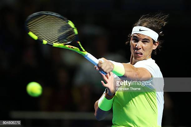 Rafael Nadal of Spain plays a forehand during the FAST4 Tennis exhibition match between Rafael Nadal and Lleyton Hewitt at Allphones Arena on January...