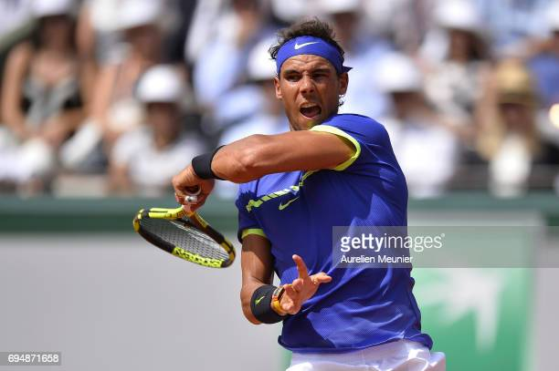 Rafael Nadal of Spain plays a forehand during the men's single final match against Stan Wawrinka of Switzerland on day fifteen of the 2017 French...