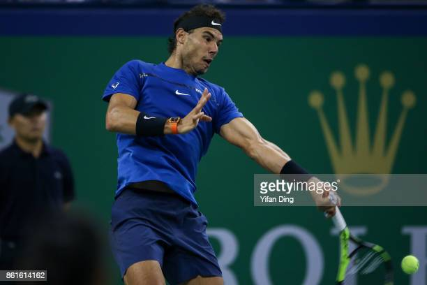 Rafael Nadal of Spain plays a forehand during the Men's singles final match against Roger Federer of Switzerland on day 8 of 2017 ATP Shanghai Rolex...