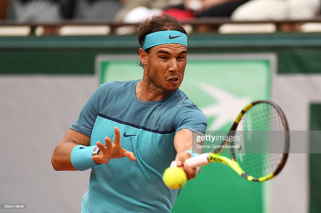 <a gi-track='captionPersonalityLinkClicked' href=/galleries/search?phrase=Rafael+Nadal&family=editorial&specificpeople=194996 ng-click='$event.stopPropagation()'>Rafael Nadal</a> of Spain plays a forehand during the Men's Singles second round match against Facundo Bagnis of Argentina on day five of the 2016 French Open at Roland Garros on May 26, 2016 in Paris, France.