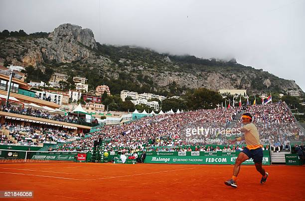 Rafael Nadal of Spain plays a forehand during the singles final match against Gael Monfils of France on day eight of the Monte Carlo Rolex Masters at...