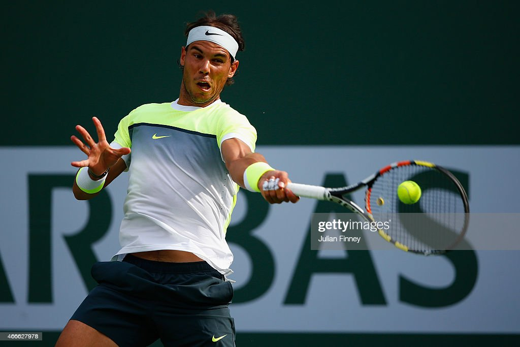 Rafael Nadal of Spain plays a forehand in his match against Donald Young of USA during day nine of the BNP Paribas Open tennis at the Indian Wells Tennis Garden on March 17, 2015 in Indian Wells, California.