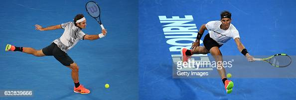 COMPOSITE OF TWO IMAGES Image numbers 632557786 and 632826854 In this composite image a comparision has been made between Roger Federer of...