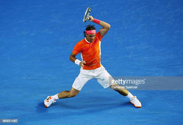 Rafael Nadal of Spain plays a forehand in his third round match against Philipp Kohlschreiber of Germany during day five of the 2010 Australian Open...