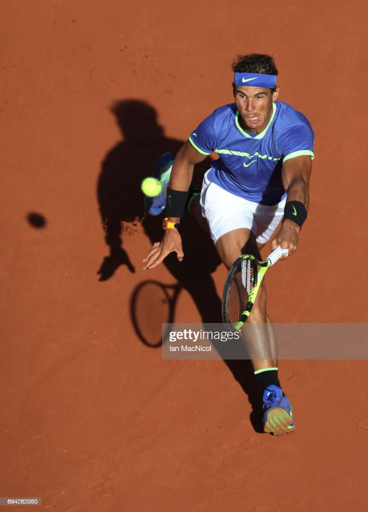 Rafael Nadal of Spain plays a forehand shot during his semi-final match with Dominic Thiem of Austria, on day thirteen at Roland Garros on June 9, 2017 in Paris, France.