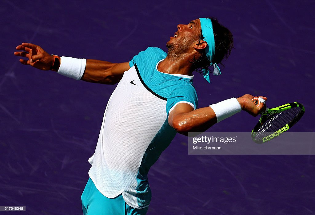 Rafael Nadal of Spain plays a match against Damir Dzumhur of Bosnia and Herzegovina during Day 6 of the Miami Open presented by Itau at Crandon Park...