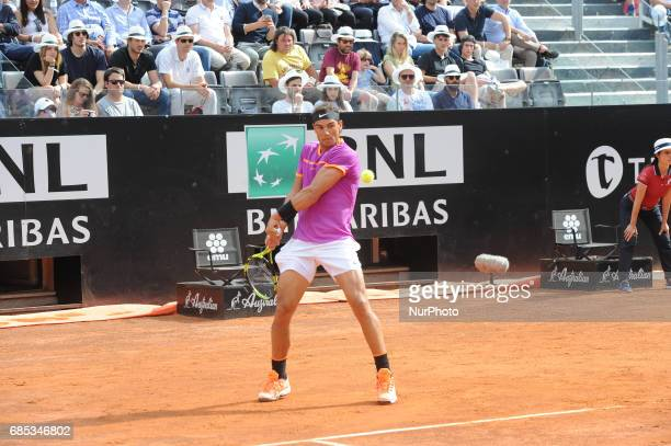 Rafael Nadal of Spain plays a shot during his quarter final match against Dominic Thiem of Austriain The Internazionali BNL d'Italia 2017 at Foro...