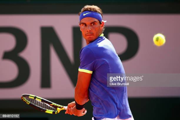 Rafael Nadal of Spain plays backhand during the mens singles final match against Stan Wawrinka of Switzerland on day fifteen of the 2017 French Open...