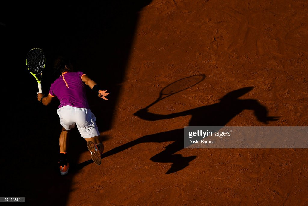 Rafael Nadal of Spain plays forehand against Hyeon Chung of South Korea in the quarterfinal on day five of the Barcelona Open Banc Sabadell on April 28, 2017 in Barcelona, Spain.