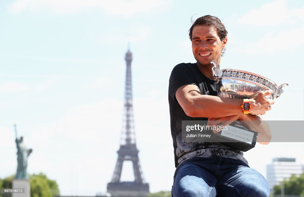 Rafael Nadal of Spain poses during a photocall to celebrate his record breaking 10th French Open title at Quai de Grenelle on June 12, 2017 in Paris, France.