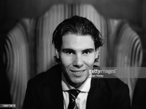 Rafael Nadal of Spain poses for a photo during the ATP World Tour Tennis Finals Media Day at the County Hall Marriott Hotel on November 19 2010 in...