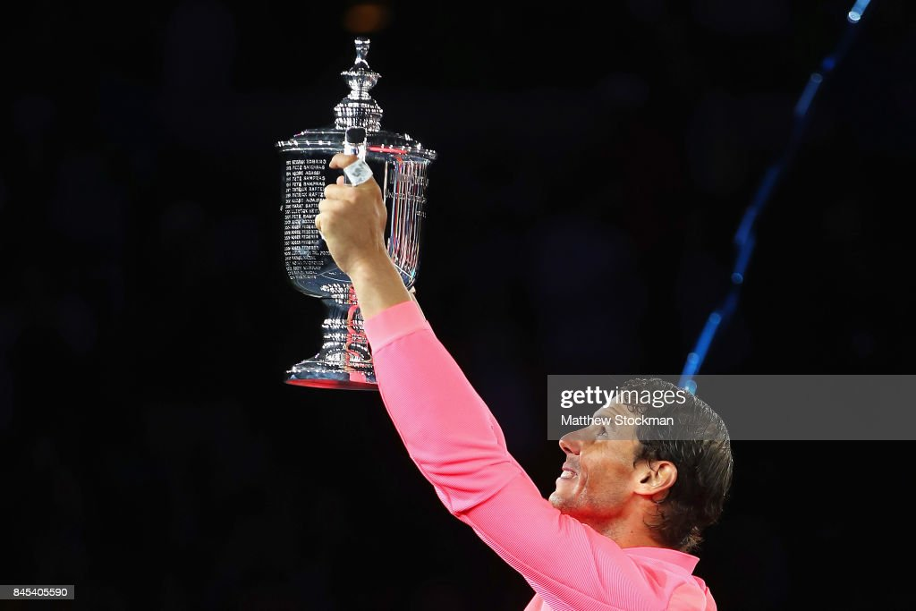 Rafael Nadal of Spain poses with the championship trophy during the trophy ceremony after their Men's Singles Finals match on Day Fourteen of the 2017 US Open at the USTA Billie Jean King National Tennis Center on September 10, 2017 in the Flushing neighborhood of the Queens borough of New York City. Rafael Nadal defeated Kevin Anderson in the third set with a score of 6-3, 6-3, 6-4.