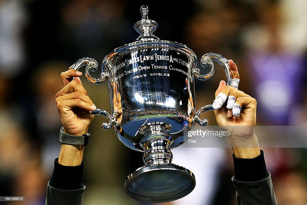 Rafael Nadal of Spain poses with the US Open Championship trophy as he celebrates winning the men's singles final match against Novak Djokovic of Serbia on Day Fifteen of the 2013 US Open at the USTA Billie Jean King National Tennis Center on September 9, 2013 in the Flushing neighborhood of the Queens borough of New York City.