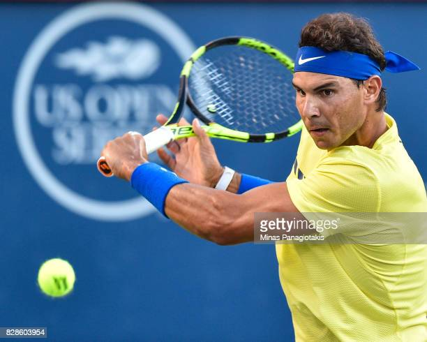 Rafael Nadal of Spain prepares to hit a return against Borna Coric of Croatia during day six of the Rogers Cup presented by National Bank at Uniprix...