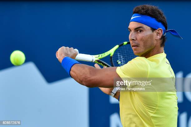 Rafael Nadal of Spain prepares to return the ball against Borna Coric of Croatia during day six of the Rogers Cup presented by National Bank at...