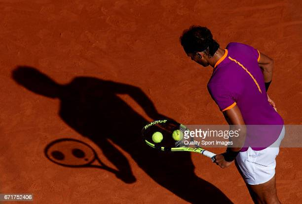 Rafael Nadal of Spain prepares to serve against David Goffin of Belgium during day seven of the ATP Monte Carlo Rolex Masters Tennis at MonteCarlo...