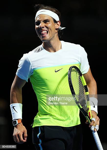Rafael Nadal of Spain reacts after a point during the FAST4 Tennis exhibition match between Rafael Nadal and Lleyton Hewitt at Allphones Arena on...