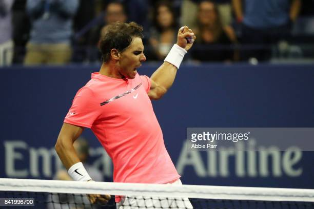 Rafael Nadal of Spain reacts after his third round match win over Leonardo Mayer of Argentina during their third round Men's Singles match on Day Six...