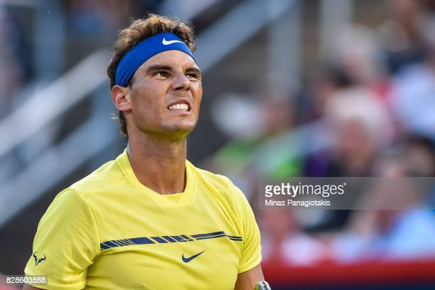 Rafael Nadal of Spain reacts after losing a point against Borna Coric of Croatia during day six of the Rogers Cup presented by National Bank at...