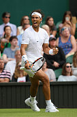 Rafael Nadal of Spain reacts after winning the 2nd set in his Gentlemens Singles Second Round match against Dustin Brown of Germany during day four...
