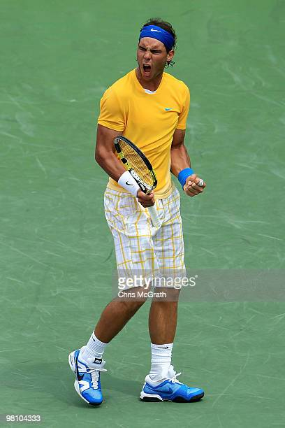 Rafael Nadal of Spain reacts against David Nalbandian of Argentina during day six of the 2010 Sony Ericsson Open at Crandon Park Tennis Center on...