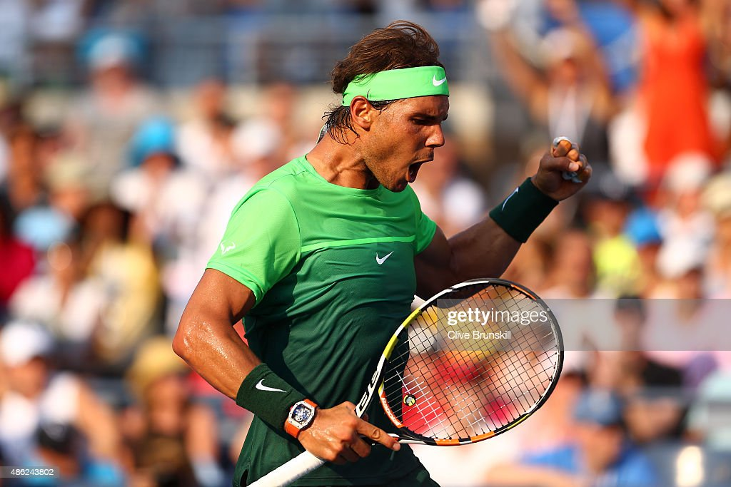 Rafael Nadal of Spain reacts against Diego Schwartzman of Argentina during their Men's Singles Second Round match on Day Three of the 2015 US Open at...