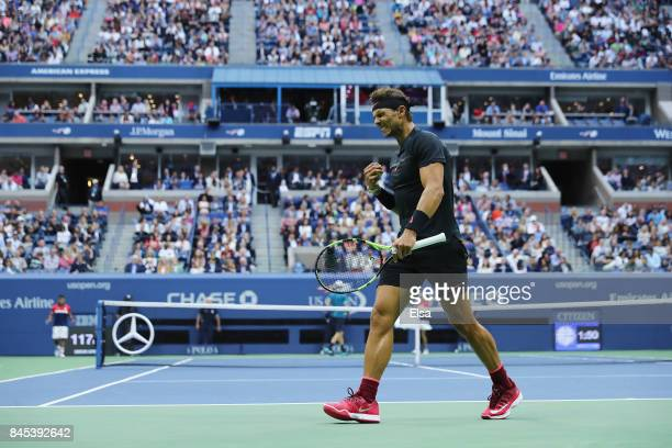 Rafael Nadal of Spain reacts against Kevin Anderson of South Africa during their Men's Singles finals match on Day Fourteen of the 2017 US Open at...