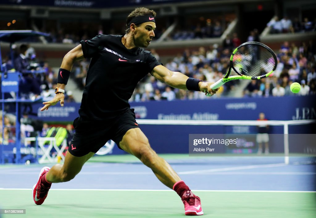 Rafael Nadal of Spain reacts against Taro Daniel of Japan in their second round Men's Singles match on Day Four of the 2017 US Open at the USTA Billie Jean King National Tennis Center on August 31, 2017 in the Flushing neighborhood of the Queens borough of New York City.