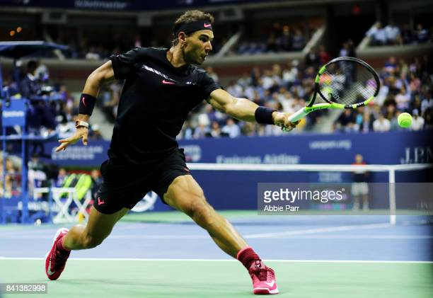 Rafael Nadal of Spain reacts against Taro Daniel of Japan in their second round Men's Singles match on Day Four of the 2017 US Open at the USTA...