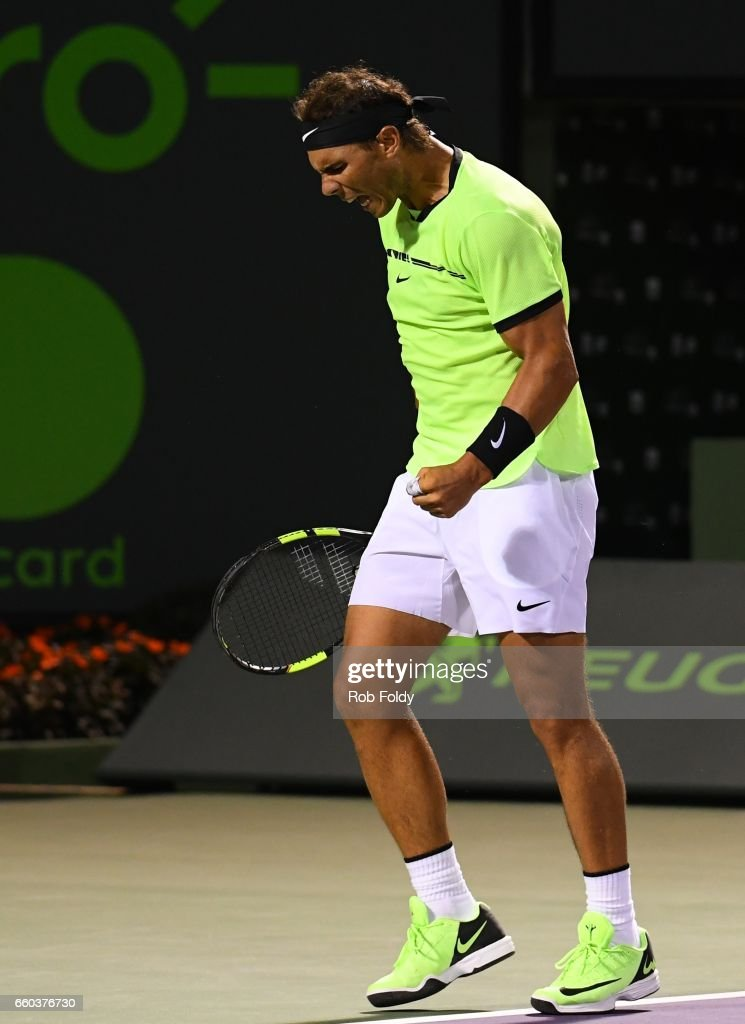 Rafael Nadal of Spain reacts during a match against Jack Sock at Crandon Park Tennis Center on March 29, 2017 in Key Biscayne, Florida.